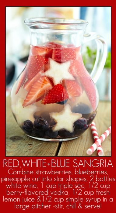 Red White Blue Sangria XOimagine: Red White Blue, Stars, Strawberries, White Wine, 4Th Of July, Blueberries, Cocktails, Drinks, Blue Sangria