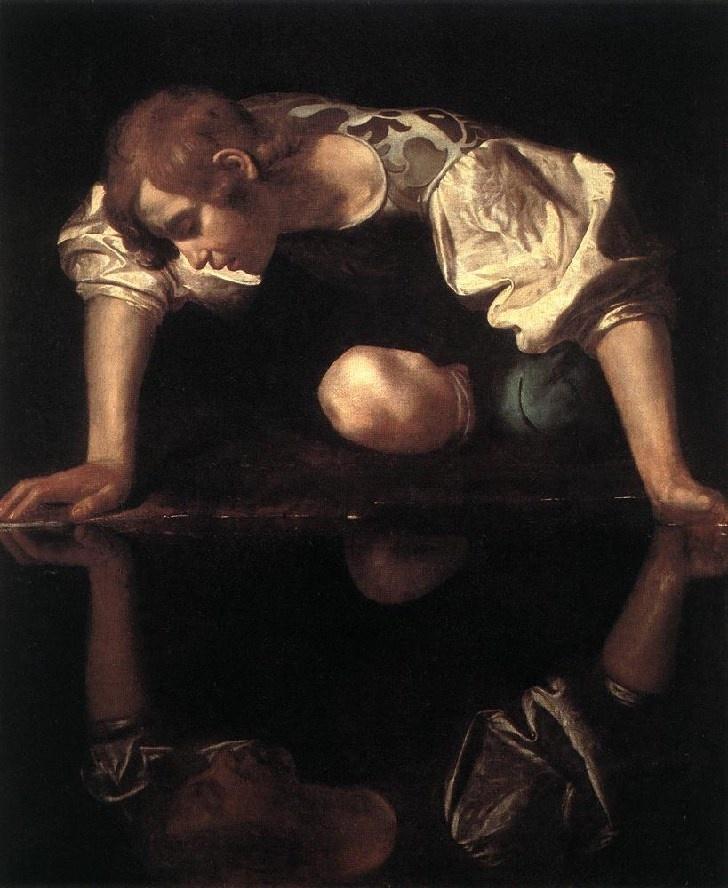 Caravaggio. Narciso.  El pintor recupera el mito de la metamorfosis de Ovidio, que nos habla de aquel joven tan hermoso que se quedó embebido por el reflejo de su propia imagen en un estanque. Su admiración fue tal que cayó al estanque al intentar besarla y murió ahogado, pero los dioses le concedieron convertirse en la flor que lleva su nombre, perpetuamente inclinada sobre el agua para poderse contemplar toda la eternidad.  Lo superficial de la belleza física.