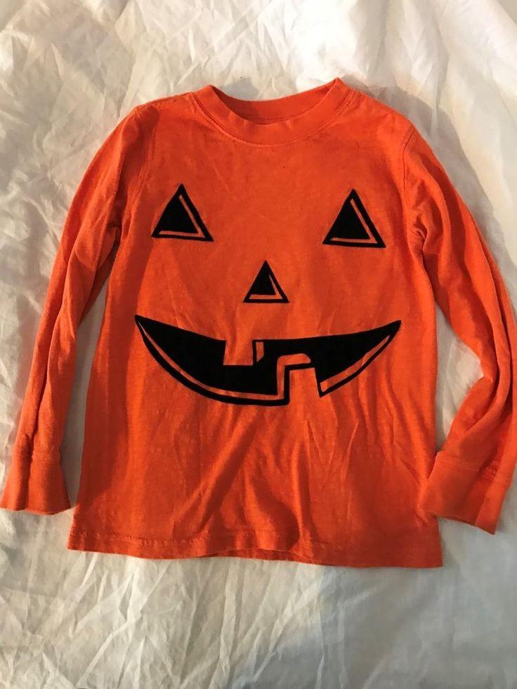 Carter's Boys 6 orange jack o latern halloween pimpkin long sleeve shirt  #Carters #HolidayHalloween