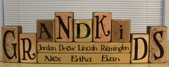 Personalized Grandkids Wood Blocks Set  Two Name by TheBenchT, $30.25