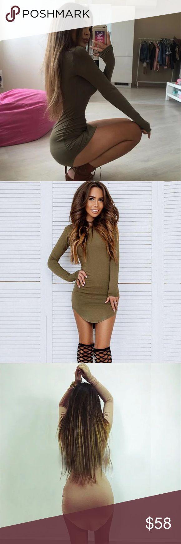 Army Green Long Sleeve Jersey Mini Dress Sheath. Crew neck. Long sleeve. Rounded hem. Mini.   Cotton, Polyester & Spandex Dresses Mini