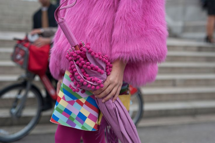 SS16 streetstyle details not too much colorful bag  pink umbrella  pink fur coat