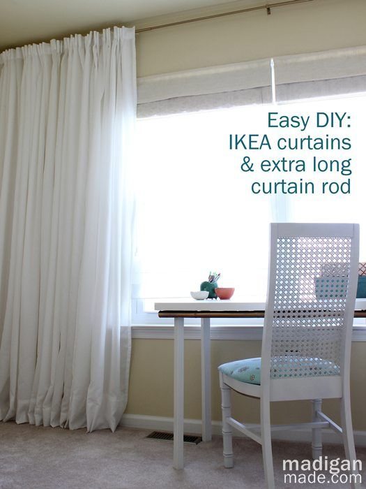 How can you make your own long curtain rod? Great tips at madiganmade.com