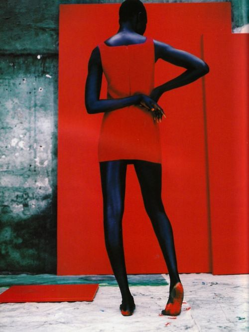 """""""Champ de Couleur"""": Alek Wek photographed by Jean-Baptiste Mondino for Vogue Paris, December/January 1997/98, via NoYouShutUp"""