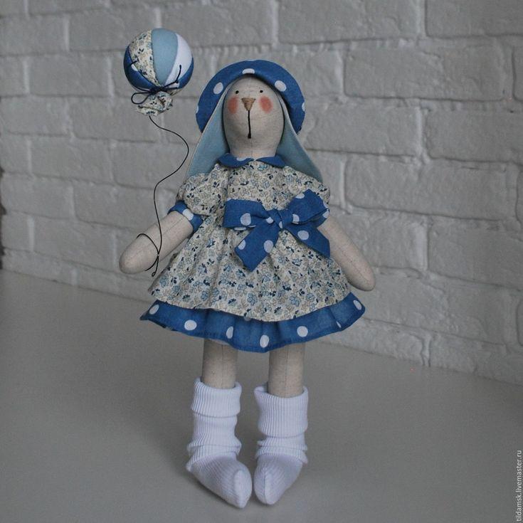Купить Тильда зайка с воздушным шаром - интерьерная кукла, тильда заяц, зайка, подарок