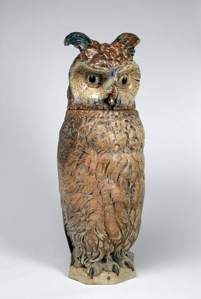 Wally Bird Jar with Lid , by the Martin Brothers 1903 stoneware, production place Fulham, England.
