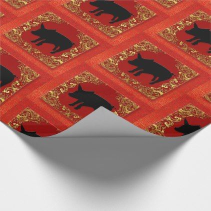 #gold - #Black Pig Chinese Zodiac Animal Red and Gold Wrapping Paper