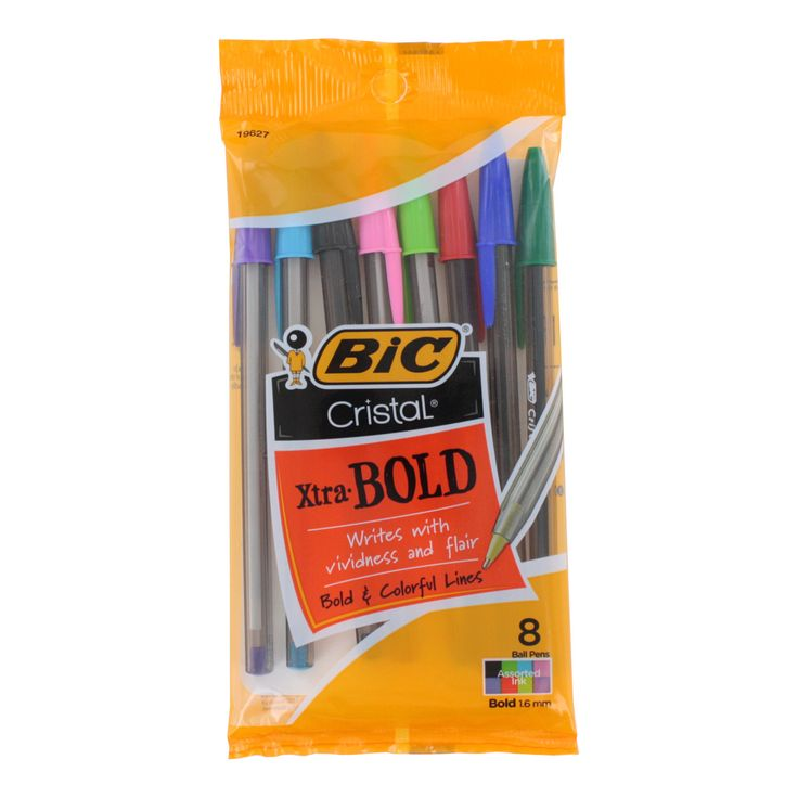 Bring a vivid look to your writing with these ball point pens from Bic. These pens write in bold and colorful ink and come packaged in a multicolor pack to give you versatile options for penning notes