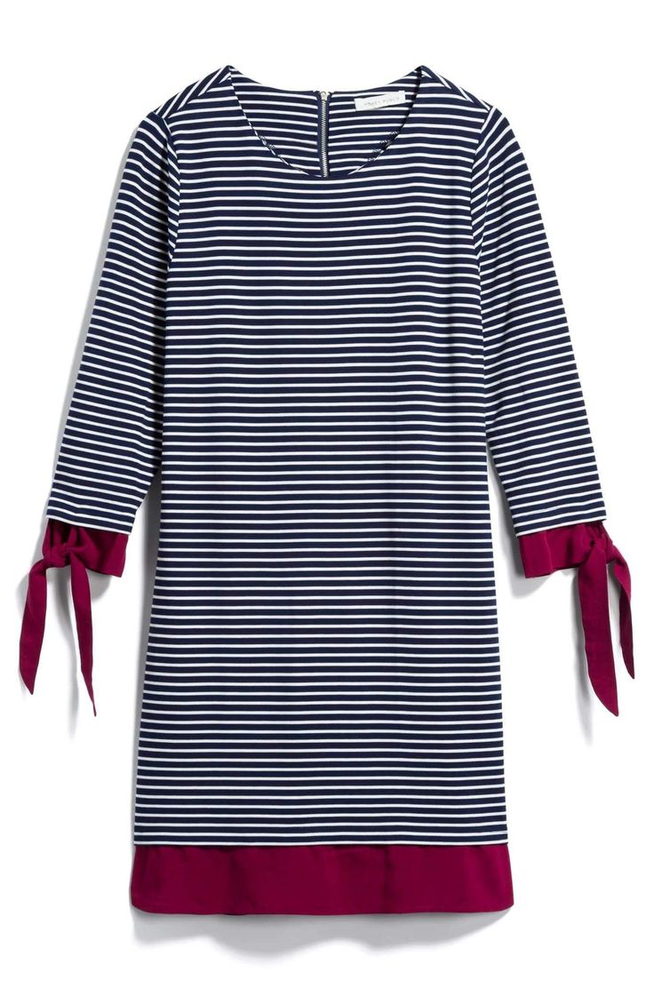 Bring on the casual styles! Like this navy and white striped dress with fuschia sleeves . Crossing my fingers that my Stitch Fix stylist sends it in my next fix! Try Stitch Fix today and let your personal stylist transform your wardrobe in a few easy steps! #affiliate