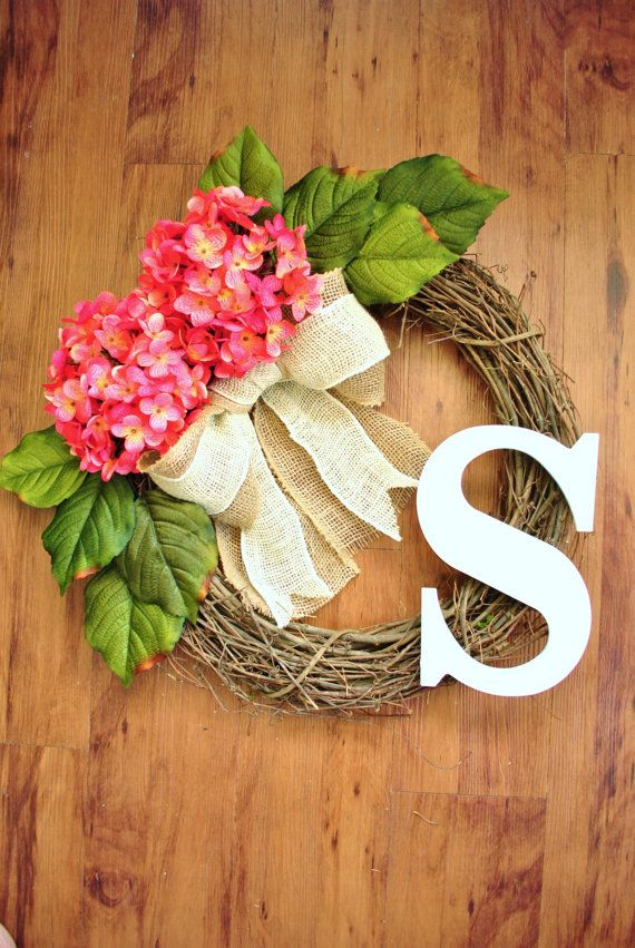 Pink Hydrangea monogram wreath with burlap.Grapevine wreath perfect for a house warming, birthday, thank you or mother's day gift. on Etsy, $40.00