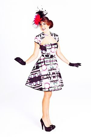 Take me to the Races Dress in Electric Lines Print