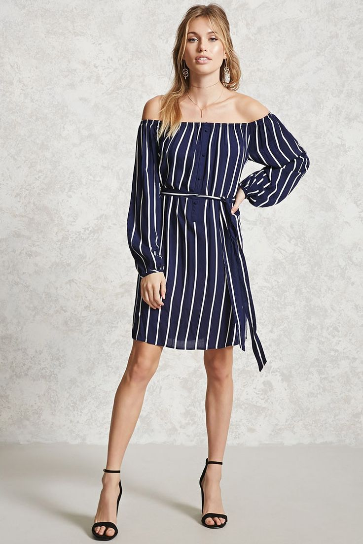 Forever 21 Contemporary - A woven mini dress featuring a striped pattern, an off-the-shoulder neckline, a removable belt, long sleeves, and a shift silhouette.