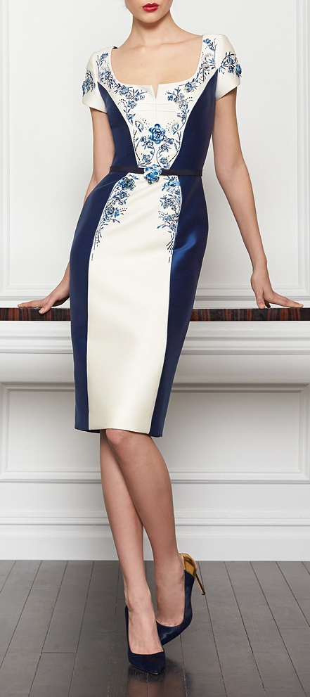 Carolina Herrera Pre-Fall 2013 ~ Lovely blue and white. It looks like a piece of blue willow china.