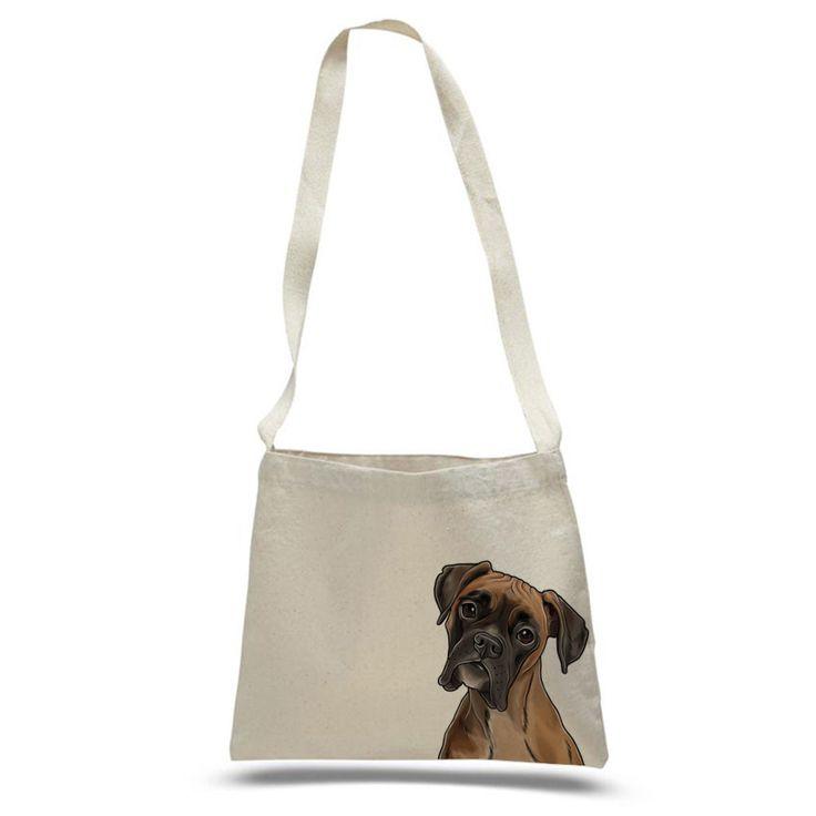 American Boxer Color Portrait Design Eco Friendly Reusable Cotton Canvas Messenger Tote Bag