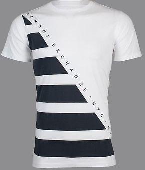 374b4ac27d54f ARMANI EXCHANGE Mens T-Shirt DIAGONAL STRIPE Premium WHITE NAVY Designer   45 NWT