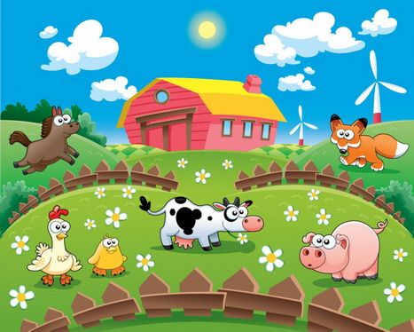 Colorful Farm Wall Mural for Kids