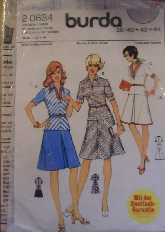 Original 60er/70er Jahre: Vintage Burda Schnitt 2 0634, junges 2 tlg. Kleid  | eBay