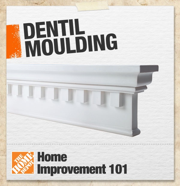Dentil moulding is characterized by a repeating block just underneath a band of moulding in crown moulding. It was first used in Roman architecture, and can often be found in Greek Revival, Georgian, Victorian, and Craftsman-style homes. #101
