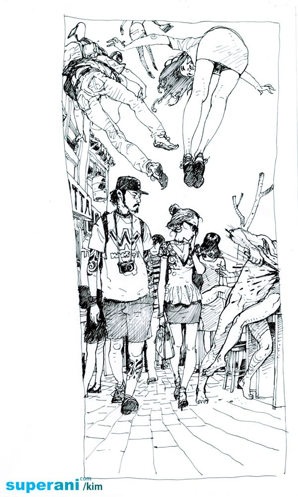 Kim JungGi original busy street sketch