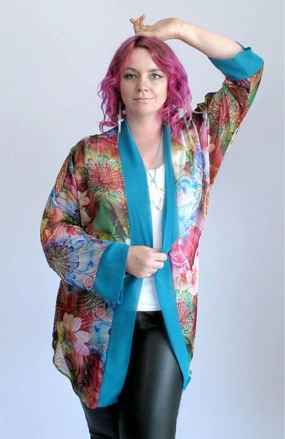 Tropical Flower Turquoise Chiffon Kimono Duster Bright