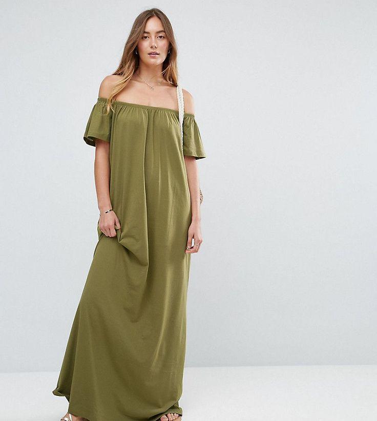 ASOS TALL Off Shoulder Maxi Dress - Green