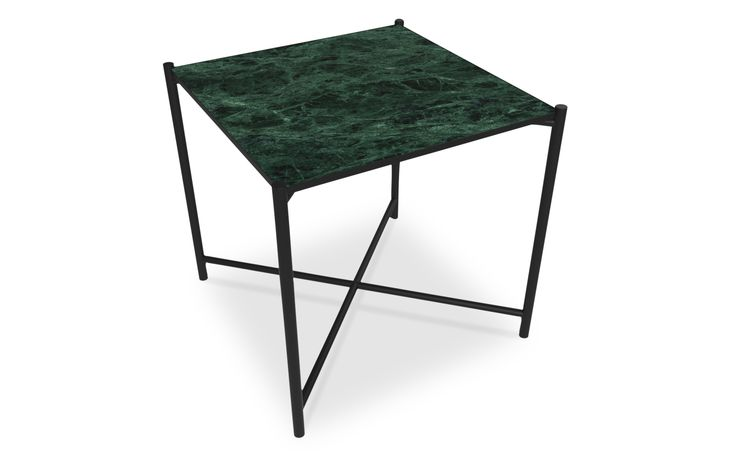 Side Table: BLACK // Green Marble Our mission was to create a table that could serve the purpose of both a small coffee table, a side table or a night stand. The marble is mounted into a slender powder coated metal frame, that adds to a light weight look. Marble is a natural product with unique patterns and expressions - that also makes every single table unique.