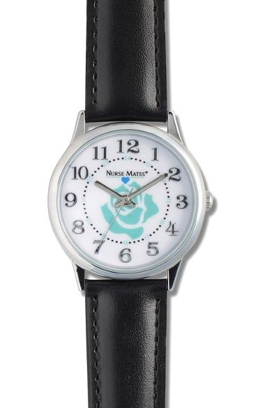 A soft rose print adds femininity to the Nurse Mates Women's Rose Dial Watch. The water resistant construction and military time add functional details to this streamlined silhouette.Nurse Mates Wo...
