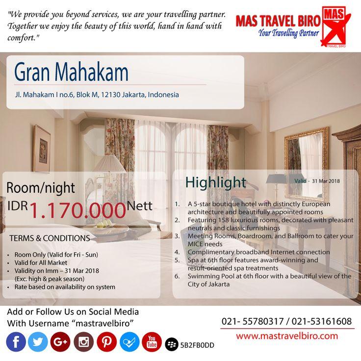 """Promo Hotel """"Grand Mahakam"""" Rp 1.170.000 Nett/permalam. Yuk di cek..."""
