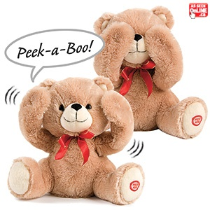 """Peek A Boo Giggling Bear - Adorable giggling bear plays peek-a-boo with just a squeeze of his paw! Arms move to """"peek"""" and he says """"Peek-a-Boo"""" and then giggles uncontrollably. $24.98 CAD"""
