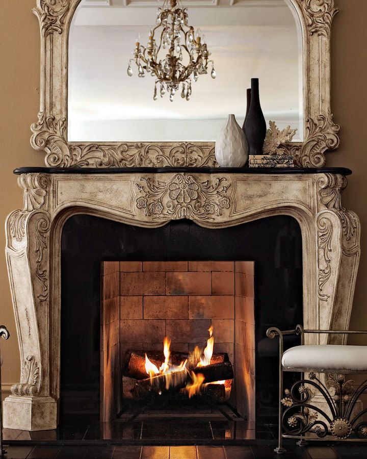 Ambella French Fireplace Mantel - home decor, indoor decorations (cast-stone mantel topped by black stone)