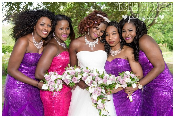 Bride and Bridesmaids at Gisborough Hall #GisboroughHall #Wedding #Purple #Bridesmaids #Sequins