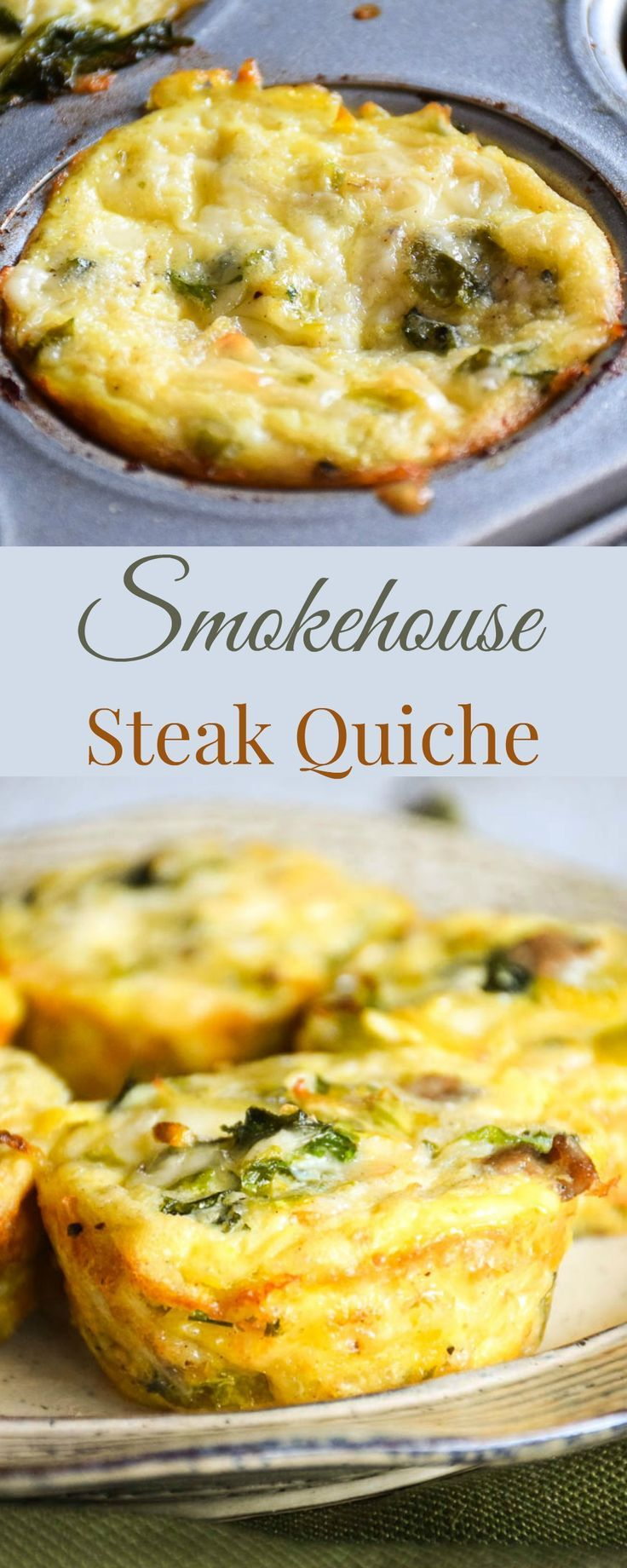 Smokehouse Steak Quiche is made easy using Mann's Brussels Sprouts Nourish Bowl with cooked steak, eggs and cheese baked in single serving size muffin cups! #SundaySupper #Nourish2Flourish @veggiesmadeeasy