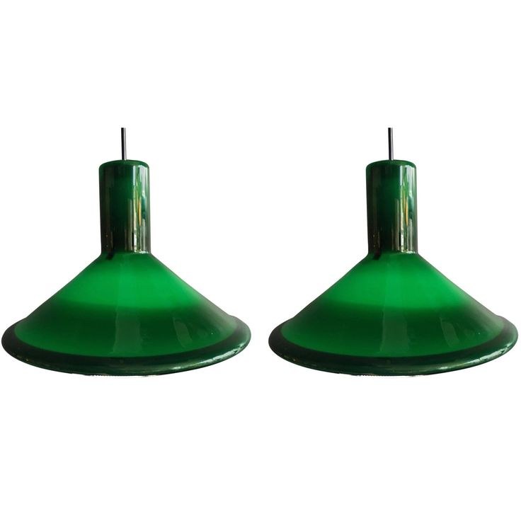 Pair of Danish Midcentury Pendant Lights by Michael Bang, Holmegaard Glass P&T