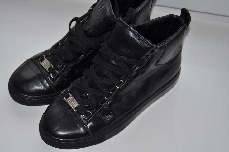 Mens Black Leather Balenciaga Arena Lace Up Trainers Size EU 39  | eBay