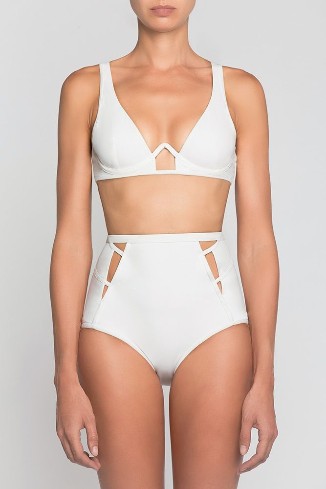 Alice High Waisted Bikini in White   Moeva   NOT JUST A LABEL