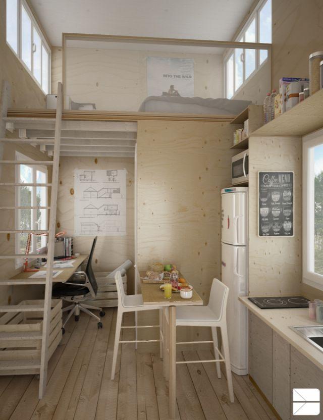 Nagy belmagasság, kicsi alapterület fába álmodva (3D terv) - Inspiráló otthonok