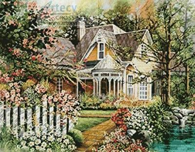 House with Picket Fence cross stitch pattern.