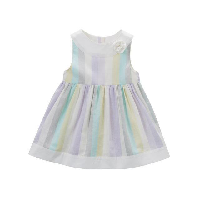 Dave & Bella Little Girls Soft Chromatic Sleeveless Striped Party Dress