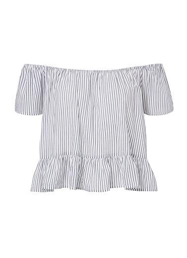 Cotton/Viscose Off Shoulder Stripe Top.  Comfortable fitting silhouette features an off shoulder elasticised neckline, short sleeves and peplum hem in an all over fine stripe. Available in Stripe as shown.
