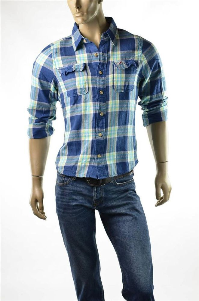 Mens Hollister by Abercrombie Flannel Button up Shirt Slim ...