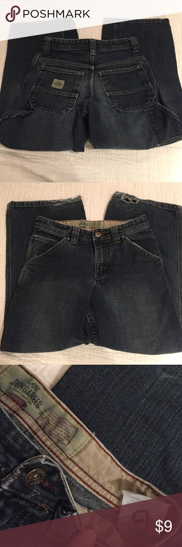 Lee Dungarees cargo jeans Lees boys wideleg cargo pants, good condition with wear on the hems (see pictures). Price reflects this. Top Rated Seller & Fast Shipper! Bundle for great value! Reasonable offers accepted! Pet & smoke free home. Lee Bottoms Jeans