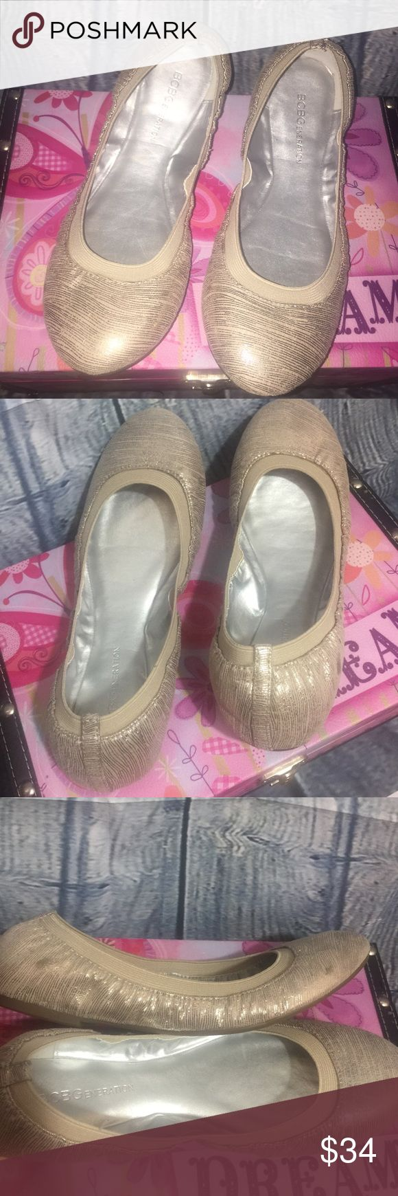 BCBGeneration Ballerina Flats Flex  Beige Sz 6.5M BCBGeneration Women's Ballerina Flats Flex Metallic Beige Size 6.5M. Minor signs of wear, minor scuffs as shown in the third picture.Very comfortable.In very good condition. BCBGeneration Shoes Flats & Loafers