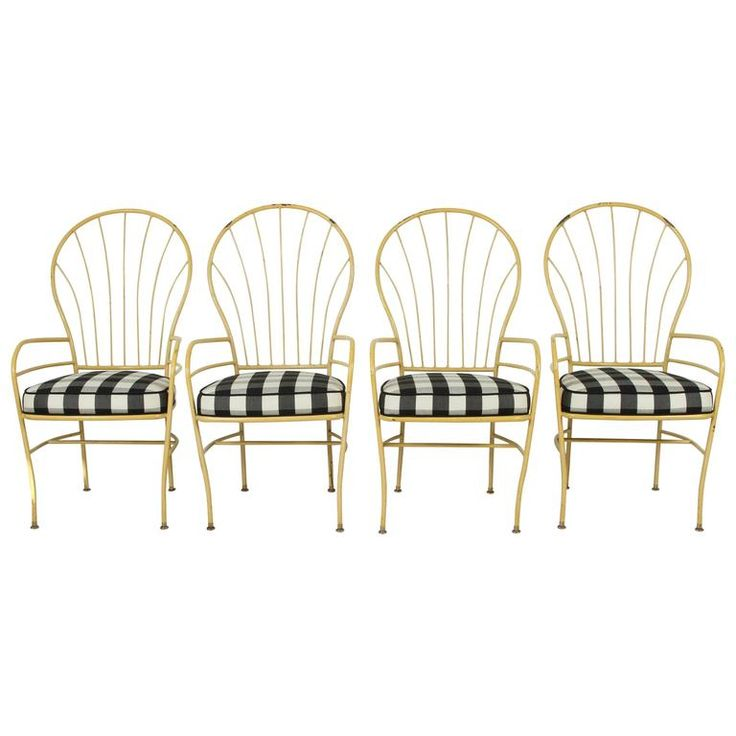 Set Of Four Yellow Metal Outdoor Chairs In Black And White Check Fabric