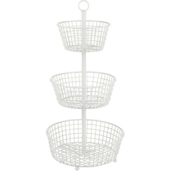 Lostine 3 Tier Wire Basket - White ($61) ❤ liked on Polyvore featuring home, home decor, small item storage, fruit storage basket, white cupcake stand, wire storage baskets, white storage baskets and wire basket