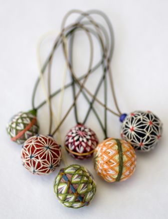 mini temari on straps, hmmmm, for decorative purposes but, where?:
