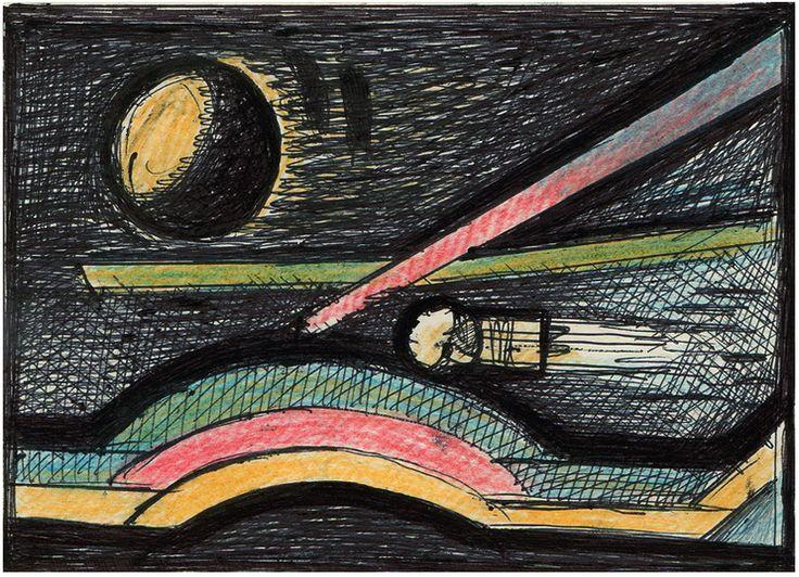"""Victor Shmokhin. !Полёт в новые миры"""" 1989г. Бумага /шариковая ручка, цветной карандаш. 7,7х10,8 (№4,174)"""