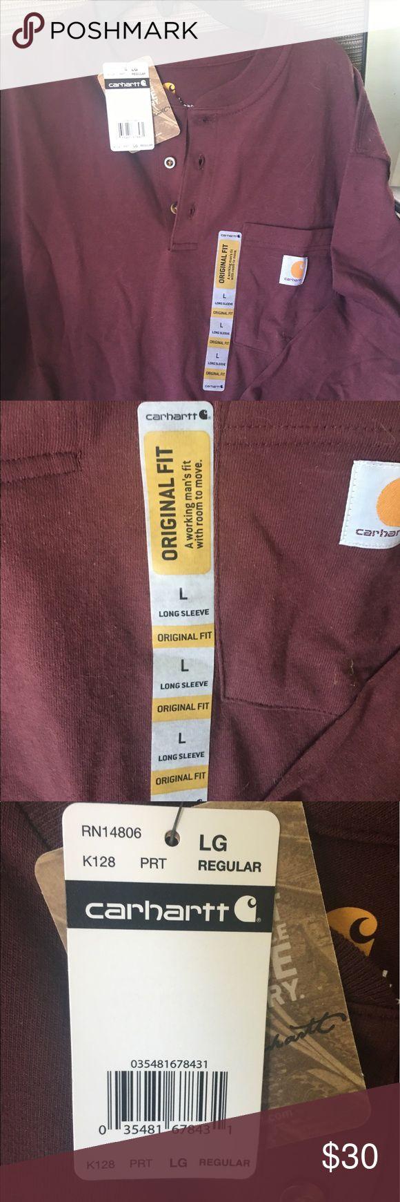Carhartt long sleeve Henley New color is port. A burgundy purple color Carhartt Shirts Tees - Long Sleeve