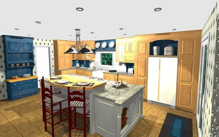Farmhouse style kitchen with center island and serving hutch