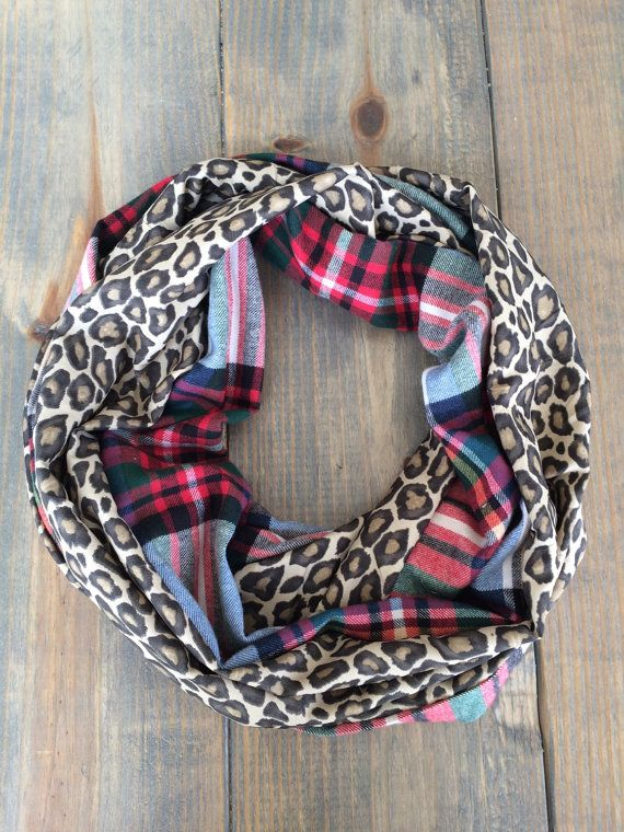Plaid and Leopard Infinity Scarf by KutKloth on Etsy