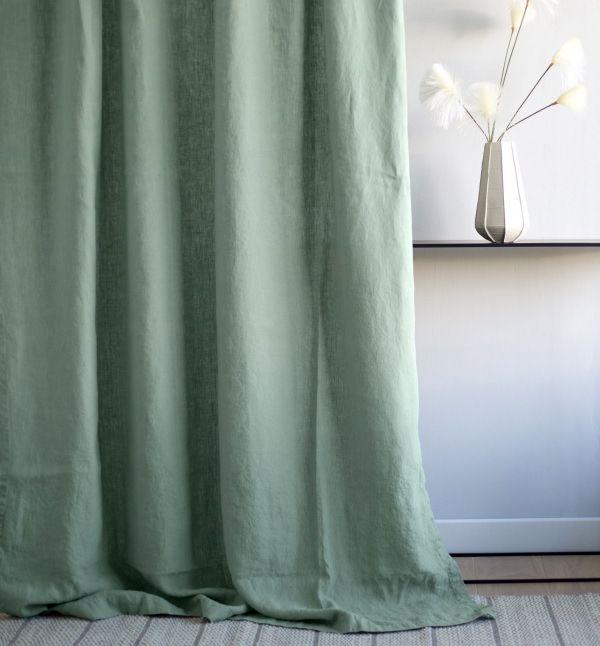 double rideaux en pur lin vert amande